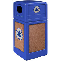 Commercial Zone 722334K StoneTec 42 Gallon Blue Square Recycling Receptacle with Sedona Panels