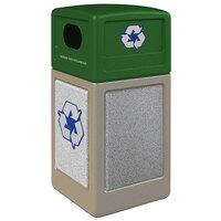 Commercial Zone 72233699K StoneTec 42 Gallon Beige Square Recycling Receptacle with Ashtone Panels and Forest Green Lid