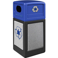 Commercial Zone 72234699K StoneTec 42 Gallon Black Square Recycling Receptacle with Ashtone Panels and Blue Lid