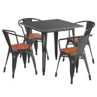 Lancaster Table & Seating Alloy Series 32 inch x 32 inch Distressed Black Dining Height Table with 4 Arm Chairs and Walnut Wooden Seats