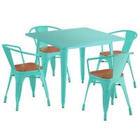 Lancaster Table & Seating Alloy Series 36 inch x 36 inch Seafoam Dining Height Table with 4 Arm Chairs and Walnut Wooden Seats