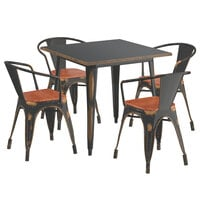 Lancaster Table & Seating Alloy Series 32 inch x 32 inch Distressed Copper Dining Height Table with 4 Arm Chairs and Walnut Wooden Seats