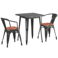 Lancaster Table & Seating Alloy Series 24 inch x 24 inch Distressed Black Dining Height Table with 2 Arm Chairs and Walnut Wooden Seats