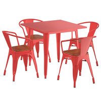 Lancaster Table & Seating Alloy Series 32 inch x 32 inch Red Dining Height Table with 4 Arm Chairs and Walnut Wooden Seats