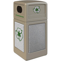 Commercial Zone 722318K StoneTec 42 Gallon Beige Square Recycling Receptacle with Ashtone Panels