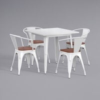 Lancaster Table & Seating Alloy Series 32 inch x 32 inch White Dining Height Table with 4 Arm Chairs and Walnut Wooden Seats