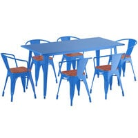 Lancaster Table & Seating Alloy Series 63 inch x 32 inch Blue Dining Height Table with 6 Arm Chairs and Walnut Wooden Seats