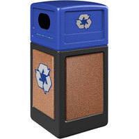 Commercial Zone 72234999K StoneTec 42 Gallon Black Square Recycling Receptacle with Sedona Panels and Blue Lid