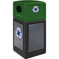 Commercial Zone 72234099K StoneTec 42 Gallon Black Square Recycling Receptacle with Pepperstone Panels and Forest Green Lid