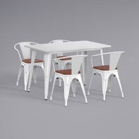 Lancaster Table & Seating Alloy Series 48 inch x 30 inch White Dining Height Table with 4 Arm Chairs and Walnut Wooden Seats