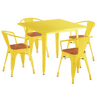 Lancaster Table & Seating Alloy Series 36 inch x 36 inch Yellow Dining Height Table with 4 Arm Chairs and Walnut Wooden Seats