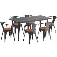 Lancaster Table & Seating Alloy Series 63 inch x 32 inch Black Dining Height Table with 6 Arm Chairs and Walnut Wooden Seats