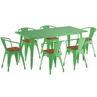 Lancaster Table & Seating Alloy Series 63 inch x 32 inch Green Dining Height Table with 6 Arm Chairs and Walnut Wooden Seats