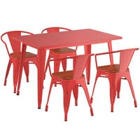 Lancaster Table & Seating Alloy Series 48 inch x 30 inch Red Dining Height Table with 4 Arm Chairs and Walnut Wooden Seats