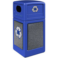 Commercial Zone 722331K StoneTec 42 Gallon Blue Square Recycling Receptacle with Pepperstone Panels