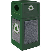 Commercial Zone 722326K StoneTec 42 Gallon Forest Green Square Recycling Receptacle with Pepperstone Panels
