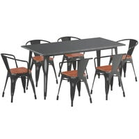 Lancaster Table & Seating Alloy Series 63 inch x 32 inch Distressed Black Dining Height Table with 6 Arm Chairs and Walnut Wooden Seats