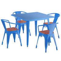 Lancaster Table & Seating Alloy Series 36 inch x 36 inch Blue Dining Height Table with 4 Arm Chairs and Walnut Wooden Seats