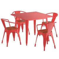 Lancaster Table & Seating Alloy Series 36 inch x 36 inch Red Dining Height Table with 4 Arm Chairs and Walnut Wooden Seats