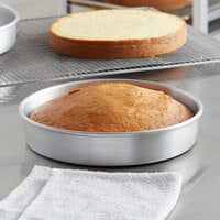 Choice 10 inch x 2 inch Round Straight Sided Aluminum Cake / Deep Dish Pizza Pan