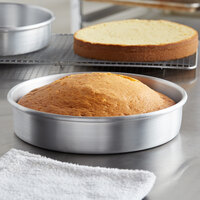 Choice 9 inch x 2 inch Round Straight Sided Aluminum Cake Pan / Deep Dish Pizza Pan