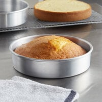 Choice 8 inch x 2 inch Round Straight Sided Aluminum Cake Pan / Deep Dish Pizza Pan
