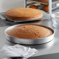 Choice 16 inch x 2 inch Round Straight Sided Aluminum Cake / Deep Dish Pizza Pan