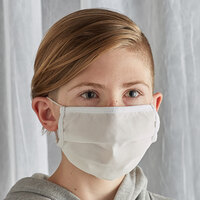 Mercer Culinary M69015WH Customizable White Reusable Non-Woven Polypropylene Pleated Protective Youth Face Mask - 7 3/8 inch x 3 1/2 inch