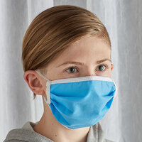 Mercer Culinary M69015LB Customizable Light Blue Reusable Non-Woven Polypropylene Pleated Protective Youth Face Mask - 7 3/8 inch x 3 1/2 inch