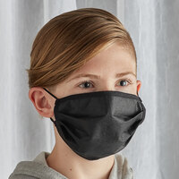 Mercer Culinary M69015BK Customizable Black Reusable Non-Woven Polypropylene Pleated Protective Youth Face Mask - 7 3/8 inch x 3 1/2 inch