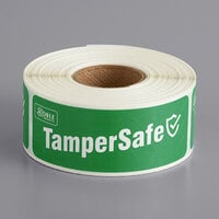 "TamperSafe 1"" x 3"" Customizable Green Paper Tamper-Evident Label - 250/Roll"