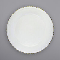 The Jay Companies 1270495-4 13 inch Round Gold Beaded Rim White Melamine Charger Plate   - 4/Set