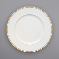 The Jay Companies 1270498-4 13 inch Round Gold Beaded Rim White Melamine Charger Plate with Gold Trim   - 4/Set