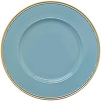 The Jay Companies 1270497-4 13 inch Round Gold Rim Blue Melamine Charger Plate and Gold Trim   - 4/Set
