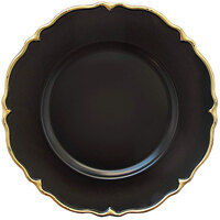 The Jay Companies 1270499-4 13 inch Round Gold Rimmed Black Charger Plate   - 4/Set