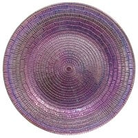 The Jay Companies 1875026 13 inch Round American Atelier Taffy Luster Glass Charger Plate