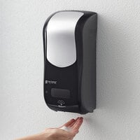 San Jamar SHF970BKSS Summit Rely Black Hybrid Automatic Foam Hand Soap and Sanitizer Dispenser - 5 1/2 inch x 4 inch x 12 inch