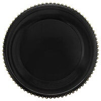 The Jay Companies 1270493-4 13 inch Round Gold Beaded Rim Black Melamine Charger Plate   - 4/Set