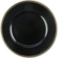The Jay Companies 1270496-4 13 inch Round Gold Rim Black Melamine Charger Plate with Gold Trim   - 4/Set