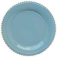 The Jay Companies 1270494-4 13 inch Round Gold Beaded Rim Blue Melamine Charger Plate   - 4/Set
