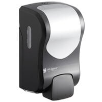 San Jamar SF970BKSS Summit Rely Black Manual Foam Hand Soap and Sanitizer Dispenser - 5 3/16 inch x 4 inch x 8 7/8 inch