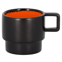 RAK Porcelain FRNOCU09OR Fire 3 oz. Orange Porcelain Stackable Espresso Cup - 12/Case