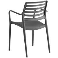 Lancaster Table & Seating Allegro Charcoal Stackable Resin Arm Chair