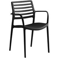 Lancaster Table & Seating Allegro Black Stackable Resin Arm Chair
