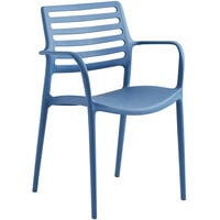 Lancaster Table & Seating Allegro Blue Stackable Resin Arm Chair