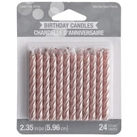 Creative Converting 347183 Metallic Rose Gold Spiral Candle - 24/Pack