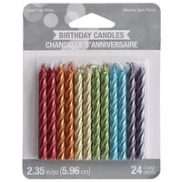 Creative Converting 347182 Metallic Rainbow Color Spiral Candle - 24/Pack