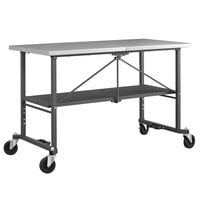 Cosco 66771DKG1E Smart Fold 25 1/2 inch x 52 inch Stainless Steel Folding Work Table with Casters