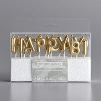 Creative Converting 339949 Gold Happy Birthday! Candle Pick Set - 14/Set