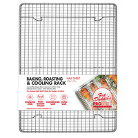 Fat Daddio's CR-HALF 12 inch x 17 inch Footed Stainless Steel Cooling Rack / Pan Grate for Half Size Sheet Pan